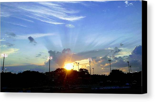 Sunset Canvas Print featuring the photograph Friday Night Lights by Sheila Renee Parker