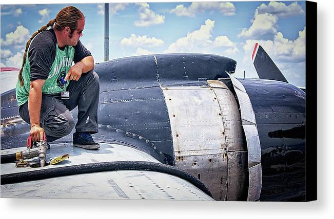 Fueling The Veteran Canvas Print featuring the photograph Fueling The Veteran by Dieter Lesche