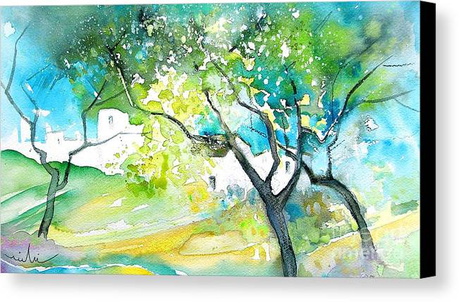 Spain Painting Water Colour Sketch Travel Gatova Canvas Print featuring the painting Gatova Spain 04 by Miki De Goodaboom