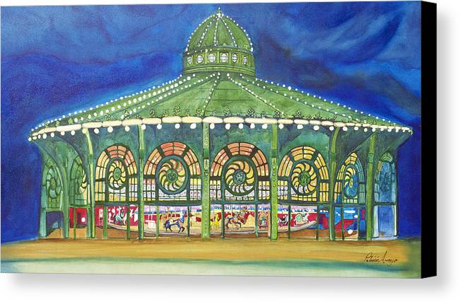 Night Paintings Of Asbury Park Canvas Print featuring the painting Grasping The Memories by Patricia Arroyo