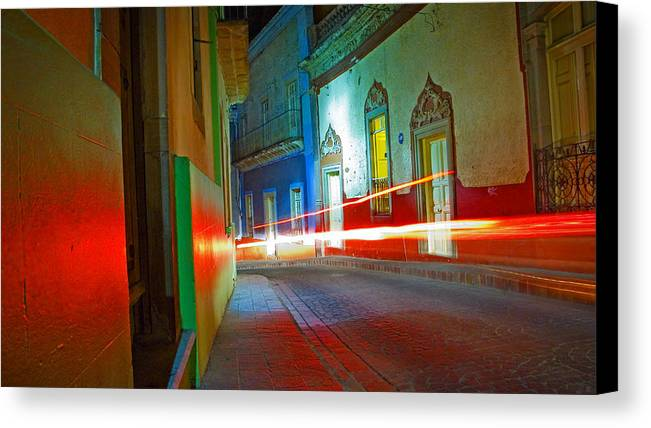 Shadow Canvas Print featuring the photograph Guanajuato Night by Skip Hunt