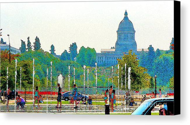 Park Canvas Print featuring the photograph Heritage Park Fountain by Larry Keahey