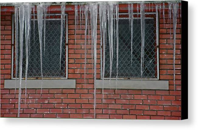 Ice Canvas Print featuring the photograph Icicles 2 - In Front Of Windows Off Red Brick Bldg. by Steve Ohlsen