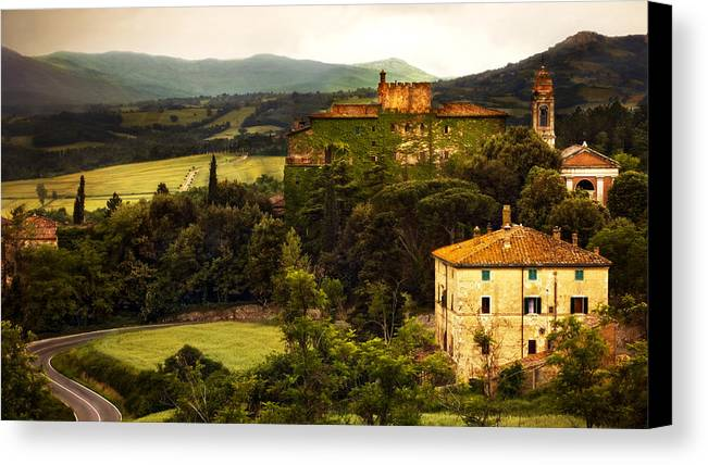 Italy Canvas Print featuring the photograph Italian Castle And Landscape by Marilyn Hunt