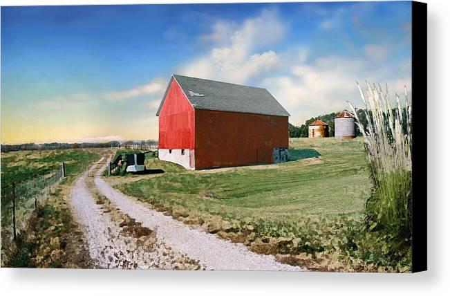 Barn Canvas Print featuring the photograph Kansas Landscape II by Steve Karol