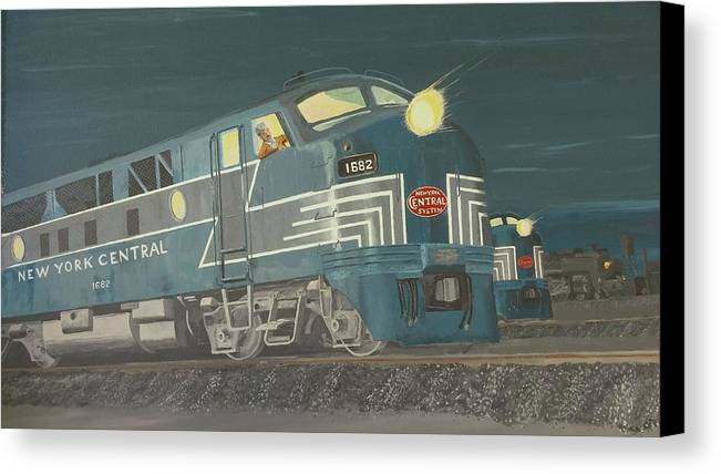 Train Canvas Print featuring the painting Late Night On The New York Central by Regis Gagnon