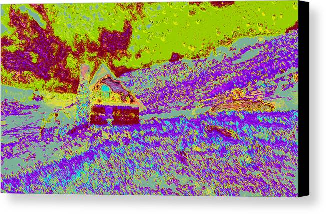 Canvas Print featuring the digital art Mountain House Ddd4 by Modified Image