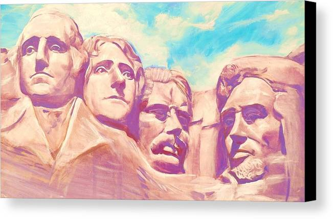 Mt Rushmore Canvas Print featuring the painting Mt Rushmore by Kean Butterfield