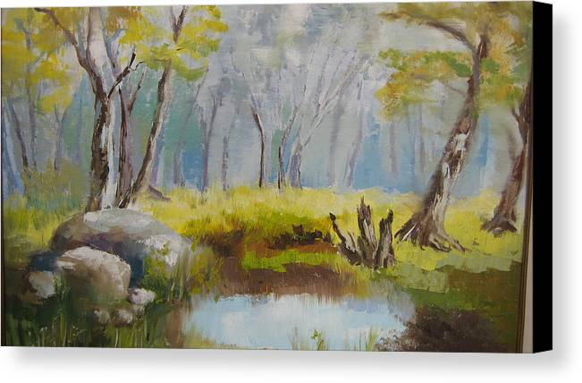 Landscape Canvas Print featuring the painting My Pond by Mabel Moyano