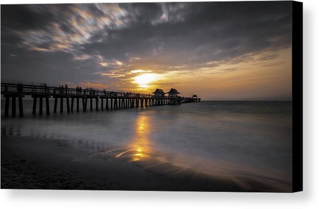 Beautiful Canvas Print featuring the photograph Naples Pier At Sunset - Florida, United States - Travel Photography by Giuseppe Milo