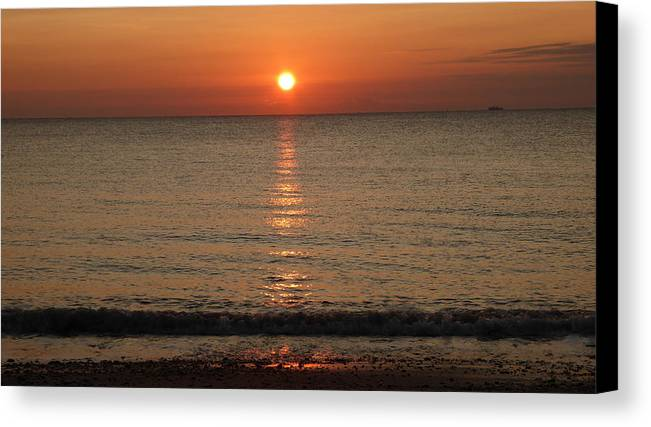 Sunrise Canvas Print featuring the photograph Ocean Wave Sunrise Sun Reflection 1 by Richard Griffin