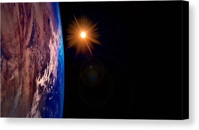 Earth Canvas Print featuring the digital art Realistic Illustration Of Earth And Sun by Sasa Kadrijevic
