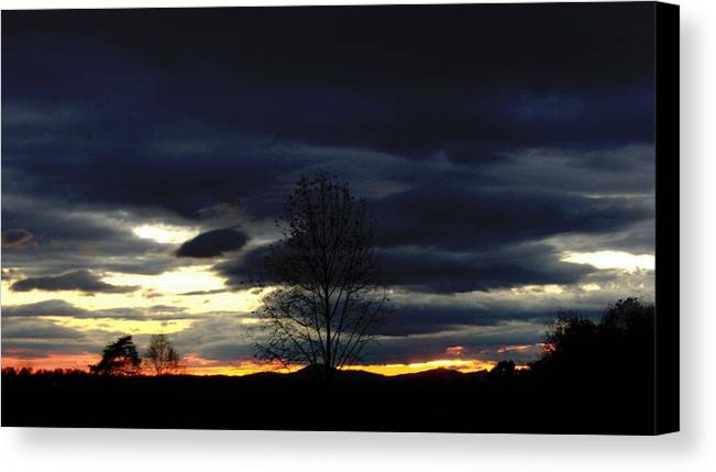 Landscape Canvas Print featuring the painting Rising Sun by Penny Everhart