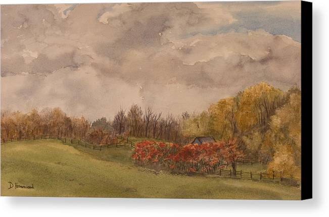 Fields Canvas Print featuring the painting Rolling Fields In The Fall by Debbie Homewood
