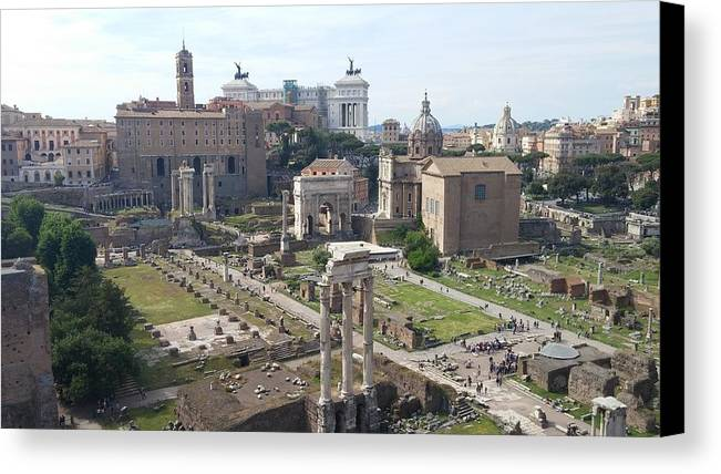 Ancient Ruins Canvas Print featuring the photograph Rome The Old New World by Mark Papa