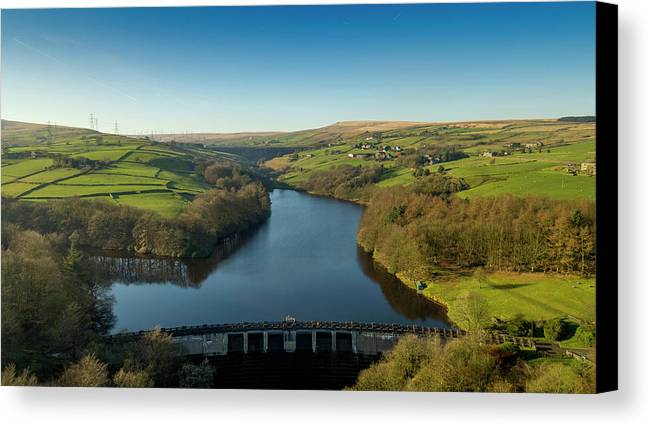 Ryburn Canvas Print featuring the photograph Ryburn Reservoir by Philip Fearnley