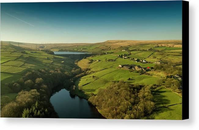 Rishworth Canvas Print featuring the photograph Ryburn Resrevoir by Philip Fearnley