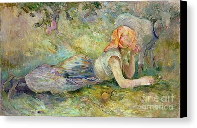 Shepherdess Canvas Print featuring the painting Shepherdess Resting by Berthe Morisot