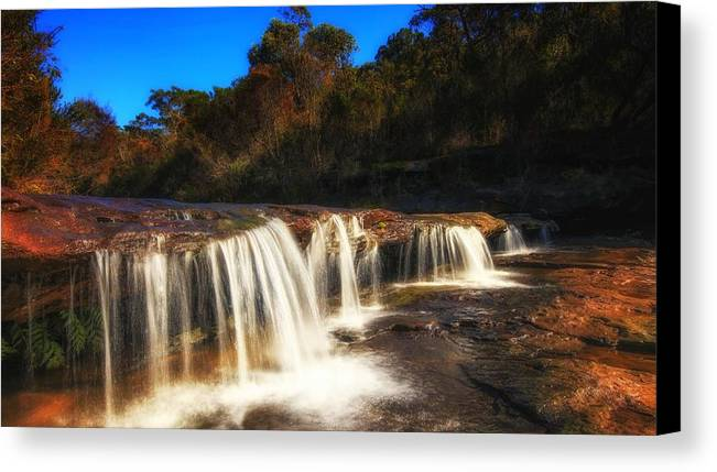 Creek Waterfall In Australian Landscape Sydney Canvas Print featuring the photograph Small Waterfall In Australian Landscape by David Trent
