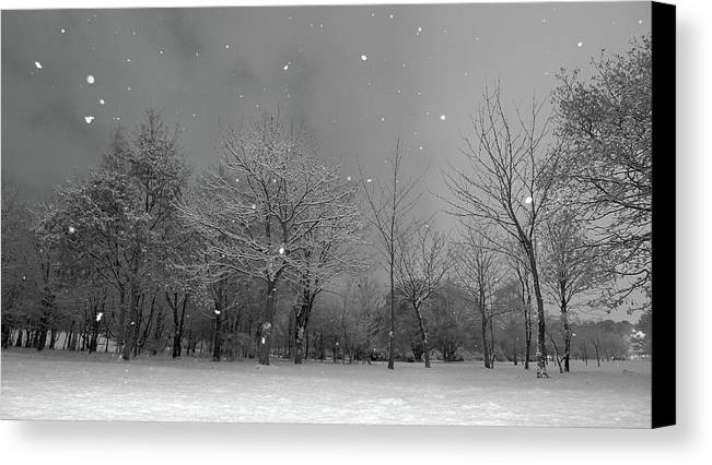 Horizontal Canvas Print featuring the photograph Snowfall At Night by Mark Watson (kalimistuk)