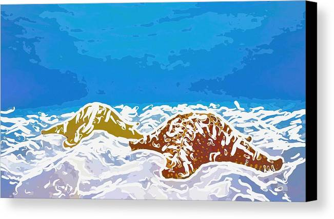 Adventure Canvas Print featuring the painting Starfish 1 by Lanjee Chee