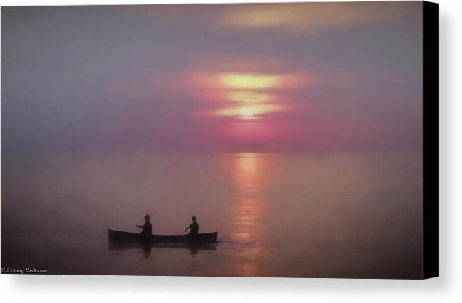Fog Canvas Print featuring the photograph Sunrise On Lake Michigan by Tommy Anderson
