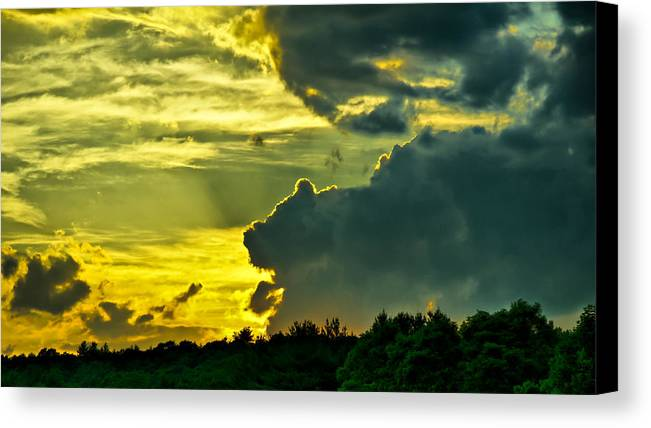 Sunset Canvas Print featuring the photograph Sunset Cloud Animal by Edward Myers