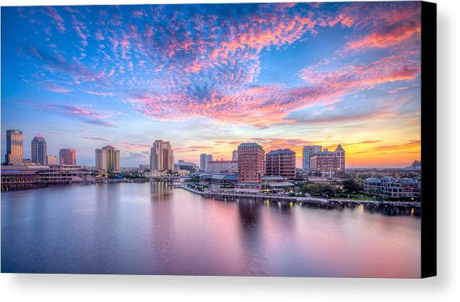 Harbour Island Canvas Print featuring the photograph Tampa Bay Sunrise by Lance Raab