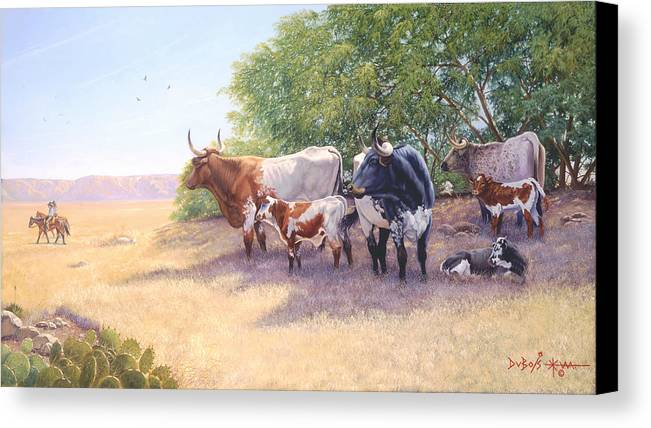 Longhorns Canvas Print featuring the painting The Lookers by Howard Dubois