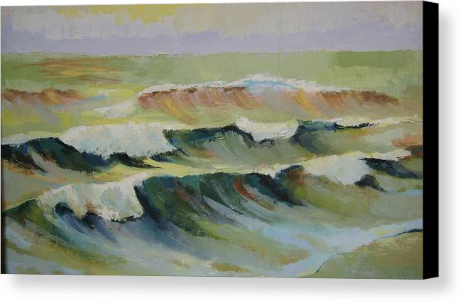 Seascape Canvas Print featuring the painting The Sea by Mabel Moyano