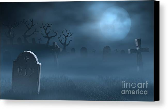 Graveyard Canvas Print featuring the digital art Tombstones On A Spooky Misty Graveyard With A Full Moon At Night by Sara Winter