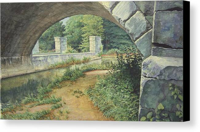 Erie Canal Canvas Print featuring the painting Under The Erie Canal by Stephen Bluto