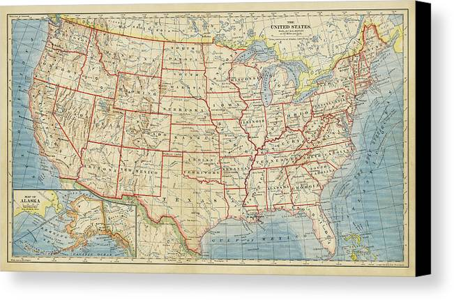 United States Map Canvas Print featuring the drawing Vintage Map Of United States, 1883 by World Art Prints And Designs