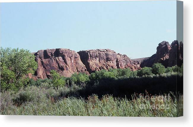 Landscape Canvas Print featuring the photograph 785 Sl Red Rock Medow by Chris Berry