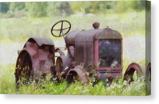 Abandoned Tractor On The Farm Canvas Print featuring the painting Abandoned Tractor On The Farm by Dan Sproul