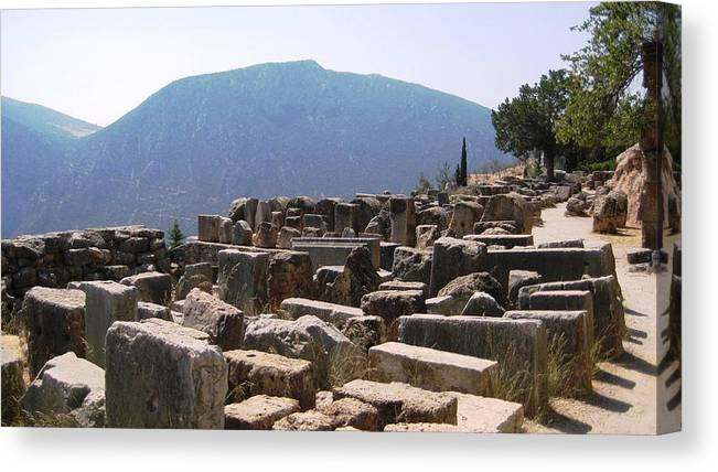 Athens Canvas Print featuring the photograph Ancient Delphi 15 by Teresa Ruiz