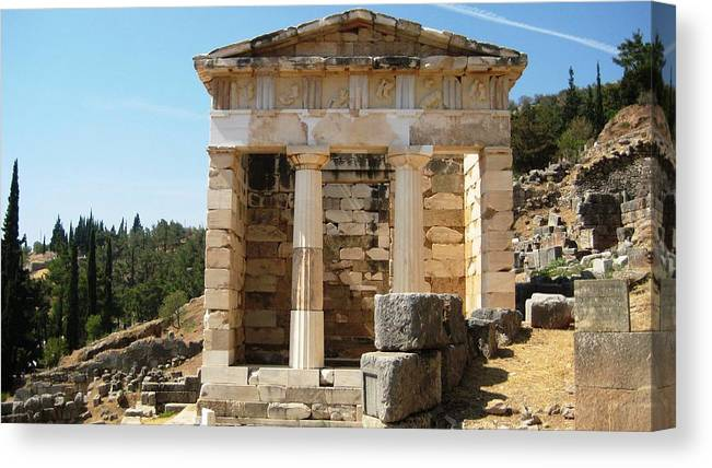 Athens Canvas Print featuring the photograph Ancient Delphi 6 by Teresa Ruiz