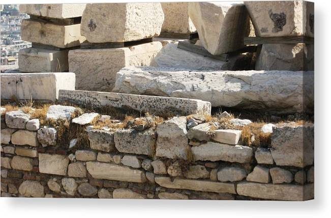 Athens Canvas Print featuring the photograph Ancient Rock by Teresa Ruiz