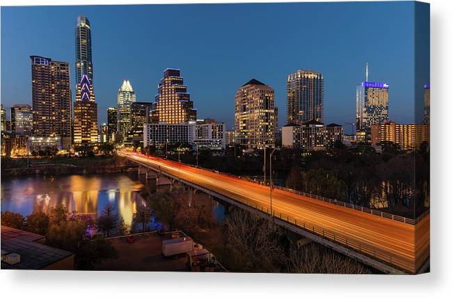 Photography Canvas Print featuring the photograph Austin, Texas Cityscape Evening Skyline by Panoramic Images