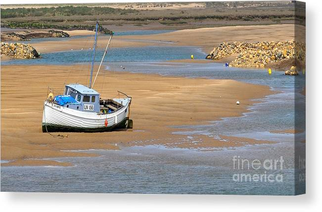 Boat Canvas Print featuring the photograph Awaiting The Tide by Bel Menpes