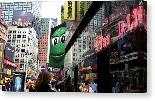 Times Square Canvas Print featuring the photograph Big Green M And M by Lorraine Devon Wilke
