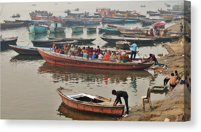 Varanasi Canvas Print featuring the photograph The Journey - Varanasi India by Kim Bemis