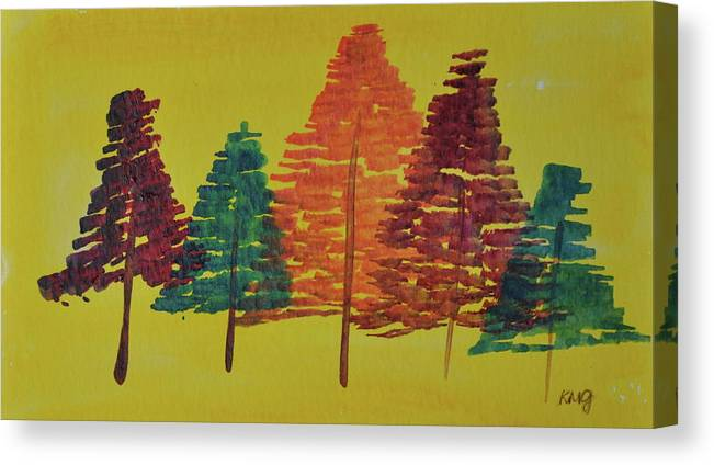 Watercolor Canvas Print featuring the painting Bright Trees by Kimberly Maxwell Grantier