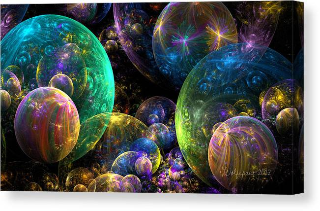Abstract Canvas Print featuring the digital art Bubbles Upon Bubbles by Peggi Wolfe