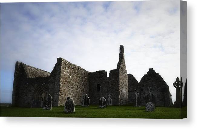 Religious Sites Canvas Print featuring the photograph Clonmacnoise Cathedral by Nadalyn Larsen
