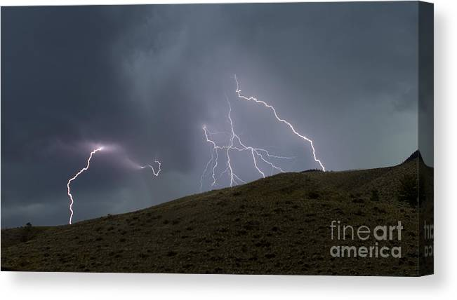Lightning Canvas Print featuring the photograph Decending Table Mountain  #8446 by J L Woody Wooden