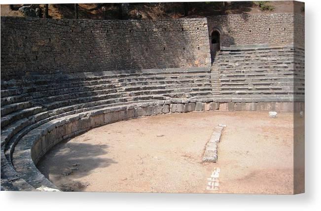 Athens Canvas Print featuring the photograph Delphi Stadium Ruins 3 by Teresa Ruiz