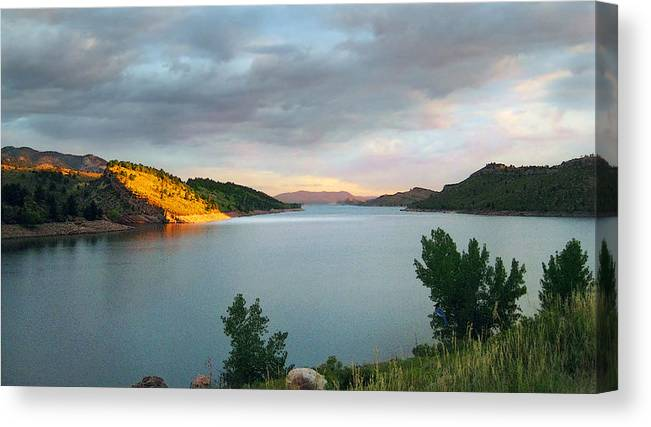 Horsetooth Reservoir Canvas Print featuring the photograph First Light by Ric Soulen