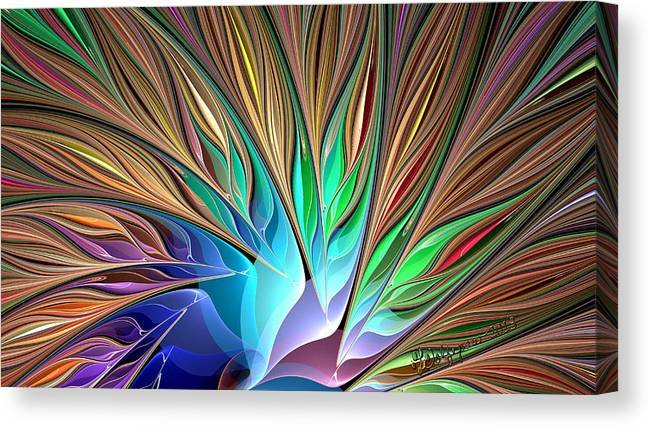 Abstract Canvas Print featuring the digital art Fractal Bird Of Paradise by Peggi Wolfe