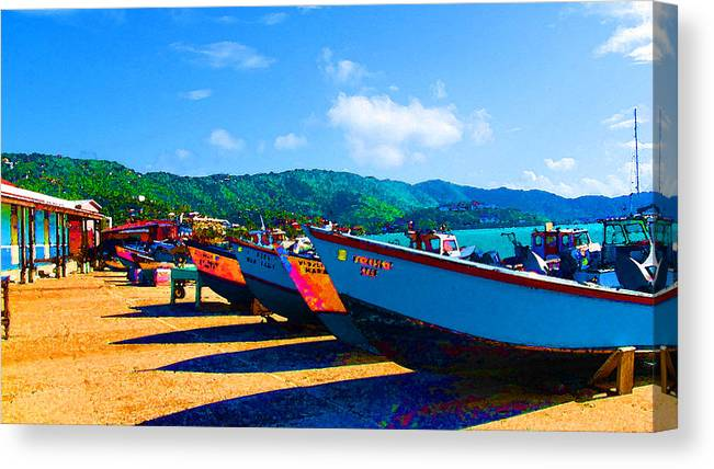 Color Canvas Print featuring the photograph Frenchtown Boats by Darien Davis